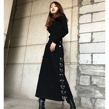 Straight Skirt Slit Punk Slim Thick Denim Women Mid-Calf for Autumn Winter S-XL