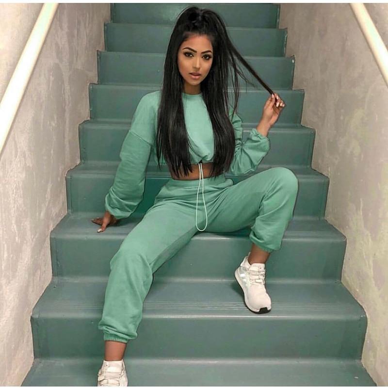 Green 2 Piece Active Set Women Tracksuit 2019 Autumn Winter Long Sleeve Sweatshirt Sweatpants Harem Pants Casual Outfit Clothes