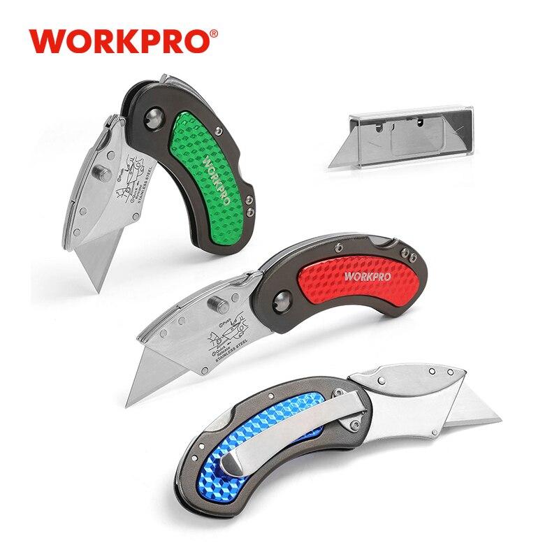Workpro 3 pc mini facas utilitário faca de alumínio lidar com  faca dobrável com 10 pás extrasfolding knifeknife utilitymini knife -  AliExpress