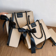 Grand fourre-tout carré à treillis en cuir PU de bonne qualité, sac à main de styliste pour femmes, sacoche à épaule avec chaîne, nouvelle collection 2020