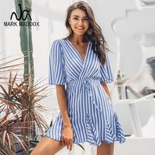 купить Vintage striped women dress V neck ruffle cotton short summer dress plus size Sexy casual lady female vestido festa 2019 онлайн