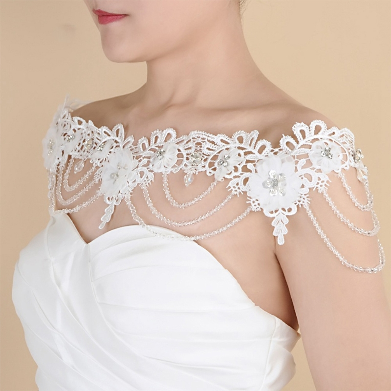 Wedding Jewelry Shoulder Chain Necklace Embroidery Lace Flower Crystal Shawl