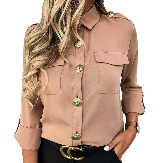 Military Top Ladies Casual Button Blouse Blusa Feminina Women Shirts With Pocket Blouse Offices Lady Blouse Chemisier Femme D30 2