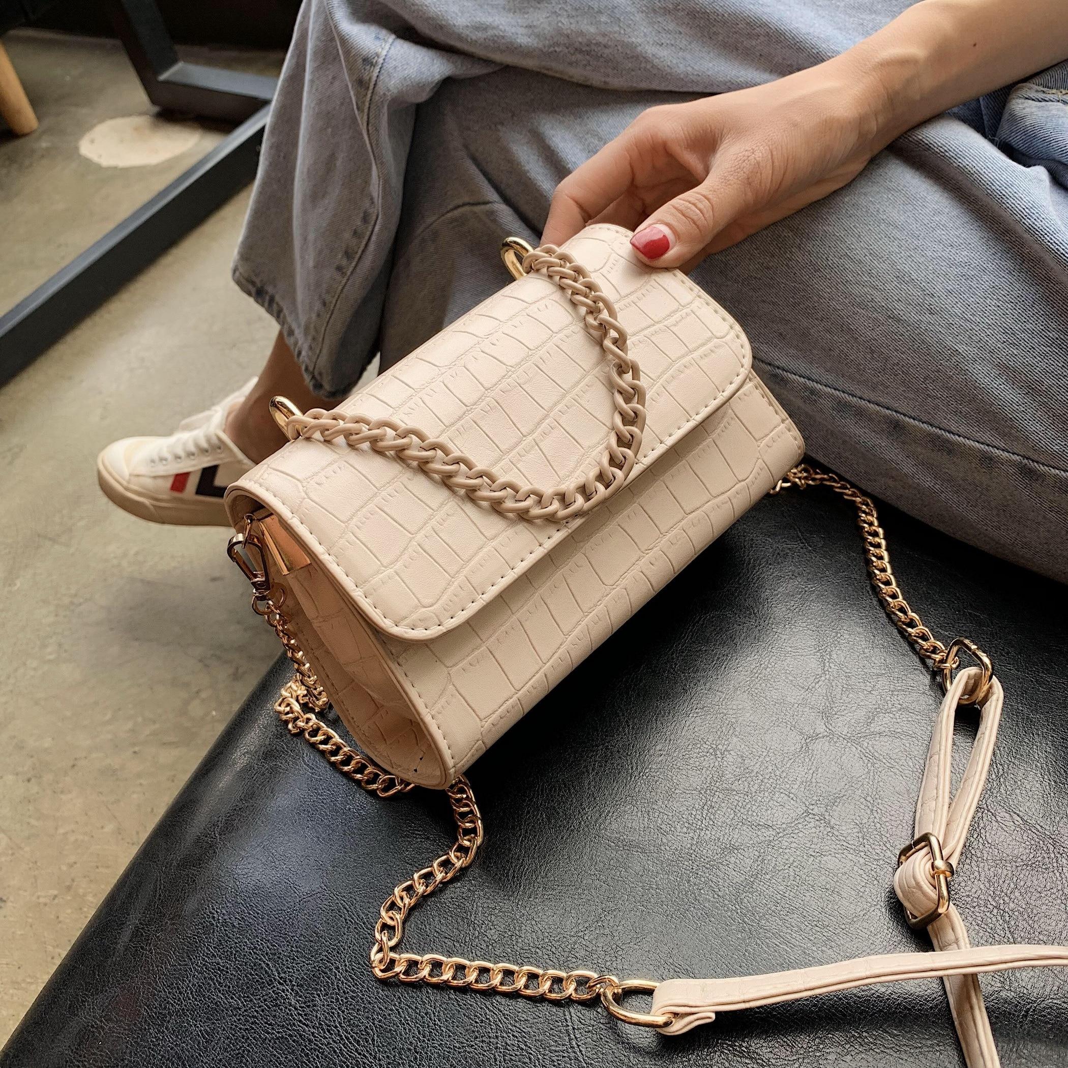 Stone Pattern PU Leather Candy Color Chain Cute Crossbody Bags For Women 2020 Summer Shoulder Handbags Female Handbag