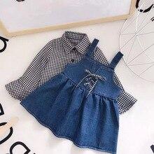 2PCS Girls Set Plaid Bell Sleeve Top+ Denim Dress Set Baby Girl Blouse Kids Long Sleeve Shirts Suspender Dresses Girls Clothes exaggerate bell sleeve pencil dress