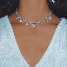 Mode Bling Kristall Schmetterling Choker Halskette Für Frauen Bohemian Tennis Kette Halskette Doppel Schicht Kragen Schmuck