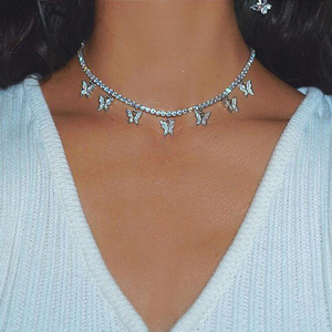 Fashion Bling Crystal Tennis Chain Choker Necklace For Women Bohemian Butterfly Necklace Collar Butterfly Jewelry