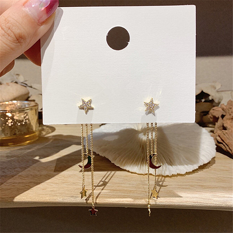 2020 New Korean Crystal Trendy Exquisite Star Moon Long Tassel Dangle Earrings For Women Temperament Crystal Pendant Jewelry