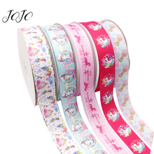 JOJO BOWS 38mm 5y Grosgrain Ribbon Unicorn Printed Webbing Materials For Sewing DIY Handmade Craft Supplies Holidays Decorations