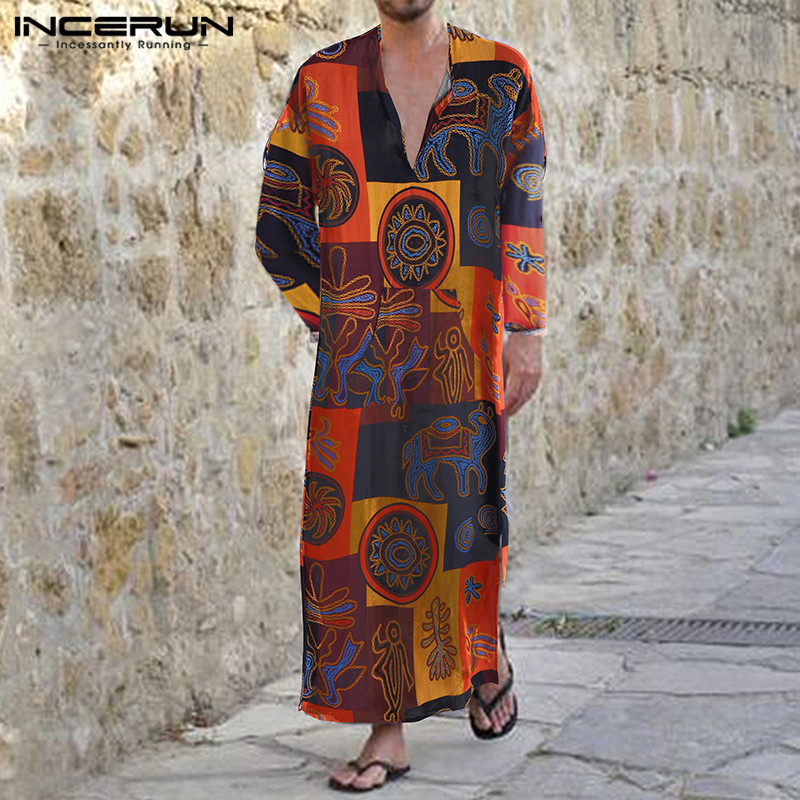 INCERUN Men Muslim Arabic Kaftan Printed V Neck Vintage Long Sleeve Men Clothes Jubba Thobe Abaya Dress Islamic Dubai Arab Robes