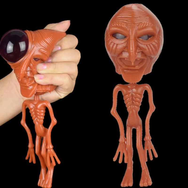 4 Types Alien Squeeze Decompression Toys Halloween Creative Prank Gift Soft Rubber Big Eyes Alien Toy Stretchable Elasticity Toy
