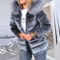 Winter Samt Jacke Mantel Frauen Baumwolle Gepolsterte Jacken Grau Rosa Plus Größe 4XL Kapuze Pelz Kragen Dicken Mode Grundlegende Schnee oberbekleidung