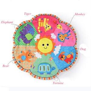 Image 3 - Cartoon animal Baby Activity Mat z stojakiem mobilne łóżeczko wielofunkcyjne dywan sensory edukacyjne dywan zabawki dla dzieci siłownia miękka mata do zabawy