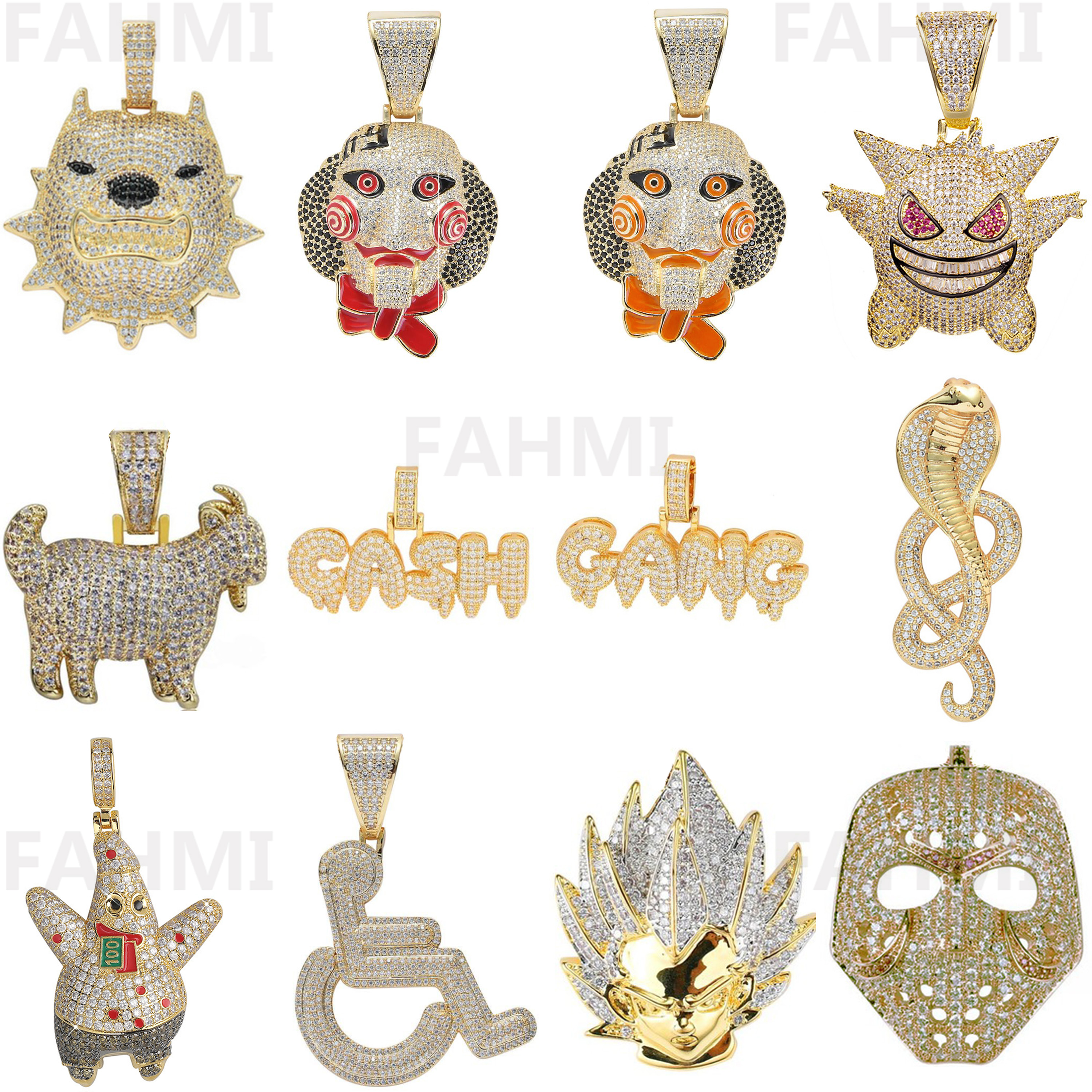 Fashion Punk Hip Hop Women Men Movie Characters Pendant Necklace Crystal Rhinestone Chain Creative 18K Gold Plating Jewelry Gift