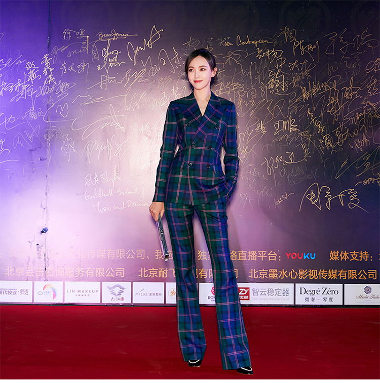 S-3XL high quality new fashion plaid print Slim thick fabric suit double-breasted shirt flared trousers women's suit 57