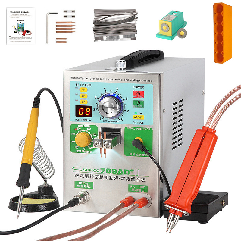 SUNKKO709AD + Spot Welding Machine Lithium Battery Induction Automatic Spot Welding Machine With 70B Spot Welding Pen T12 Solder