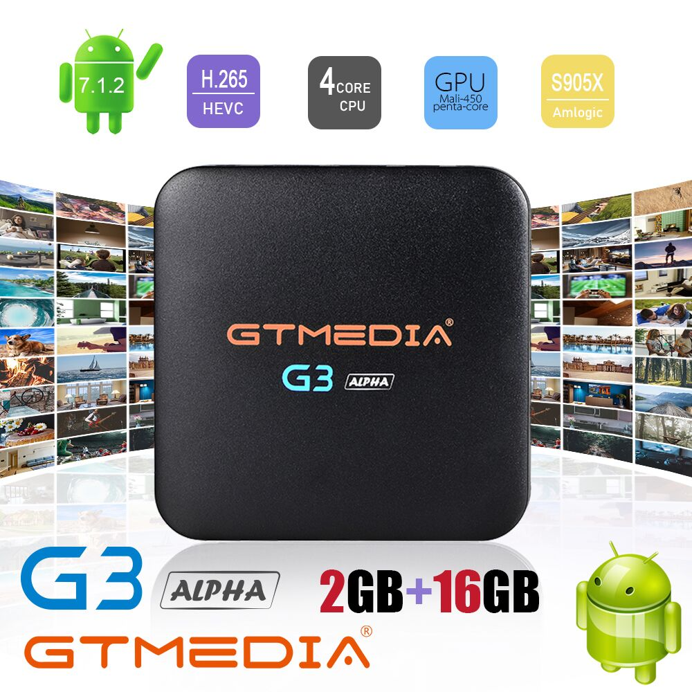 GTMEDIA G3 Android TV BOX Android 7.1 Smart TV Box 2GB 16GB Amlogic S905W Quad Core 2,4 GHz WiFi 4K H.265 IPTV Set top box PK H96