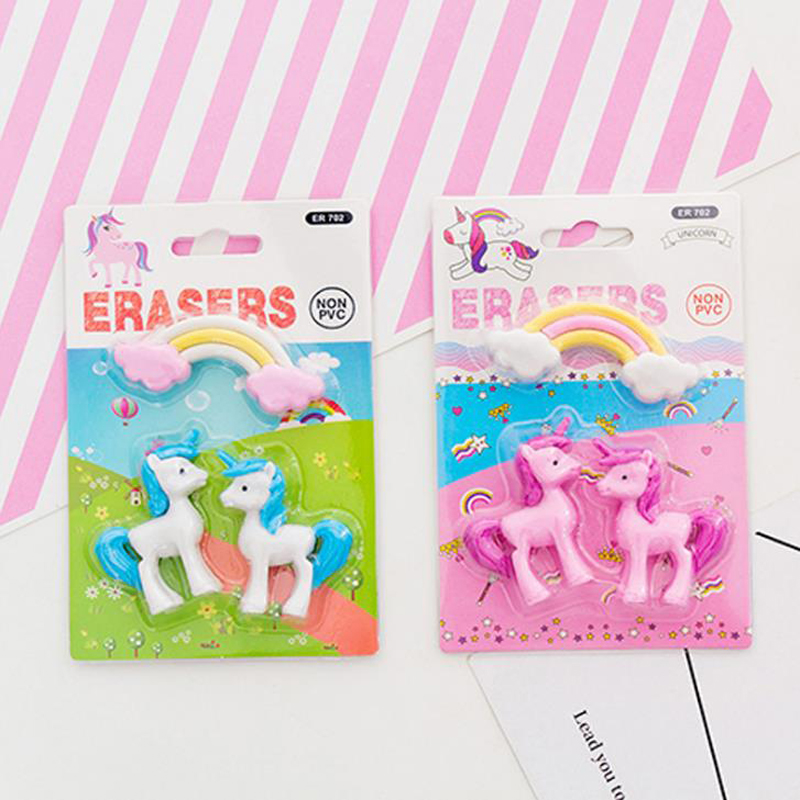 3 Pcs/pack Kawaii Rainbow Unicorn Eraser Animal Rubber Pencil Erasers Primary Student Prizes Promotional Gift Stationery