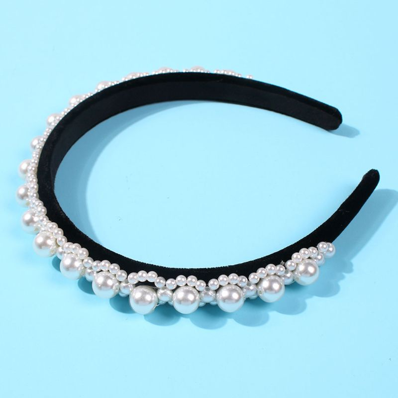 Baroque Style Vintage Headband Velvet Cloth Wrapped Women Bridal Hair Hoop Big Small Faux Pearl Flower Jewelry Wedding Headwear in Women 39 s Hair Accessories from Apparel Accessories