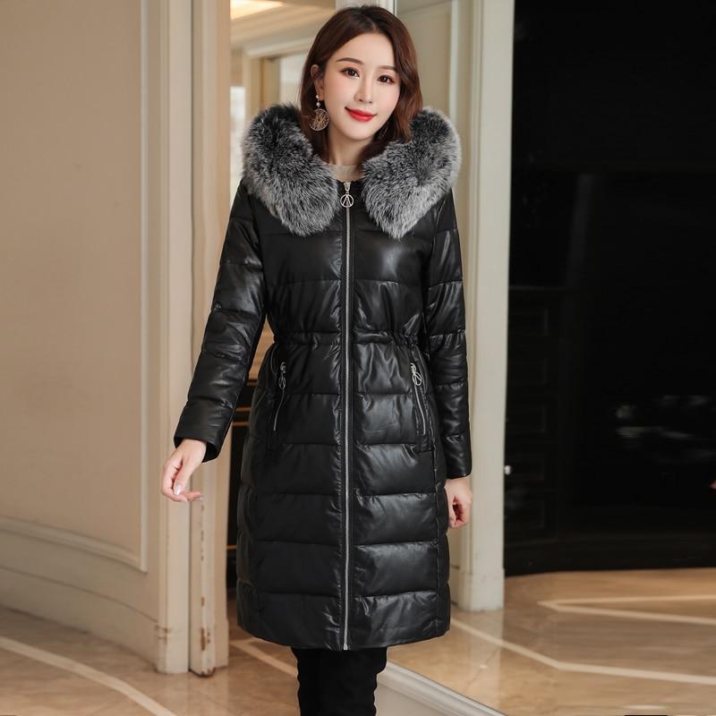 Korean Fashion Women Jacket Woman PU Leather Down Jackets Fur Coat Woman Hooded Jacket Women Winter Puffer Jacket Plus Size XXXL