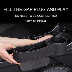 Image 5 - Couro assento de carro gap organizador de armazenamento automático assento de carro gap bolso atualização com 2 usb carregadores 12 v 24 v cigarro mais leve copo titular