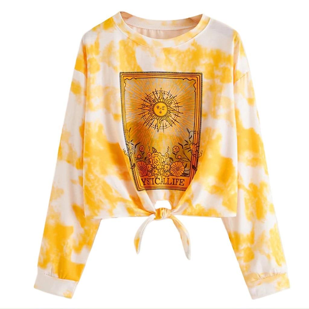US $11 25 OFF Fashion Dasi Mewarnai Simpul Cetak Sweatshirt Wanita Kasual Pendek Lengan Panjang Berjemur Surat Dicetak Kaus Pullover