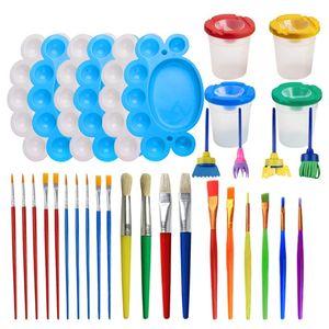 Os jogos de ferramentas da pintura, 34 fontes da pintura dos pces incluem copos da pintura com a bandeja da paleta das tampas
