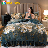 DIGYHOME Bed Linen Set High Quality Coral Fleece Velvet Flower Stripe Style Bed Skirt Quilt Cover Pillowcase 4pcs Bedding Set