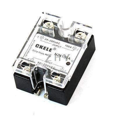 AC 24-280V to 90-250V 100A 1 Phase Metal Polished Base Solid State Relay