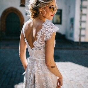 Image 3 - Vestido De Noiva a ligne col en V robe De mariée Top dentelle Appliques robe De mariée sur mesure robe De mariée balayage Train
