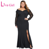 LIVA GIRL Elegant Plus Size Dress Women Sexy Off Shoulder Beaded Lace Long Sleeve Party Maxi Dresses Large Big Size Vestidos 5XL