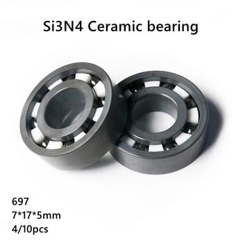 4/10pcs 697 Si3N4 full Ceramic bearing 7x17x5 mm silicon nitride Ceramic deep groove ball bearing 7*17*5mm