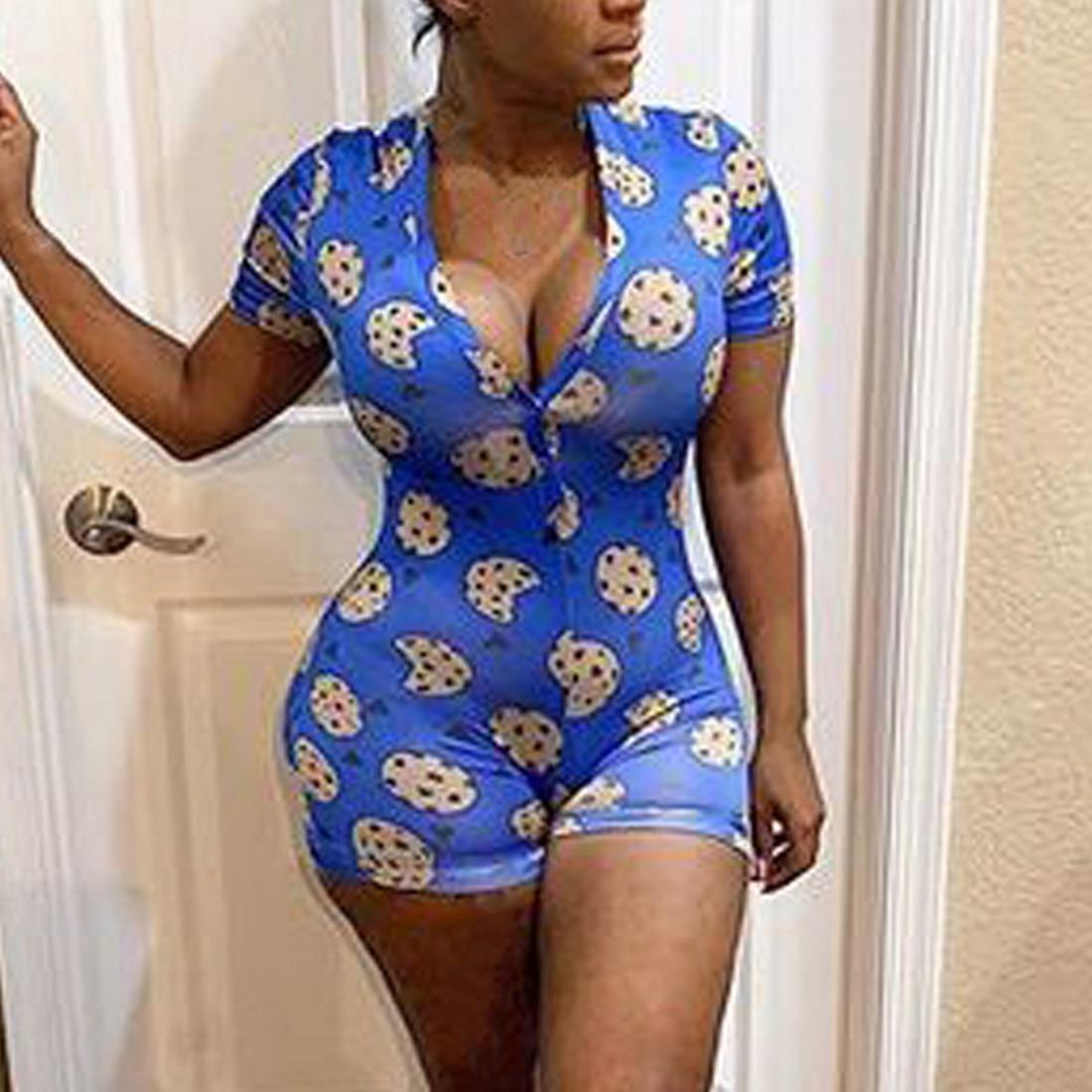Women Sexy V-Neck Short Sleeve Bodycon Bodysuit Casual Printed Button Sleepwear Jumpsuit Shorts Romper Leotard for Summer