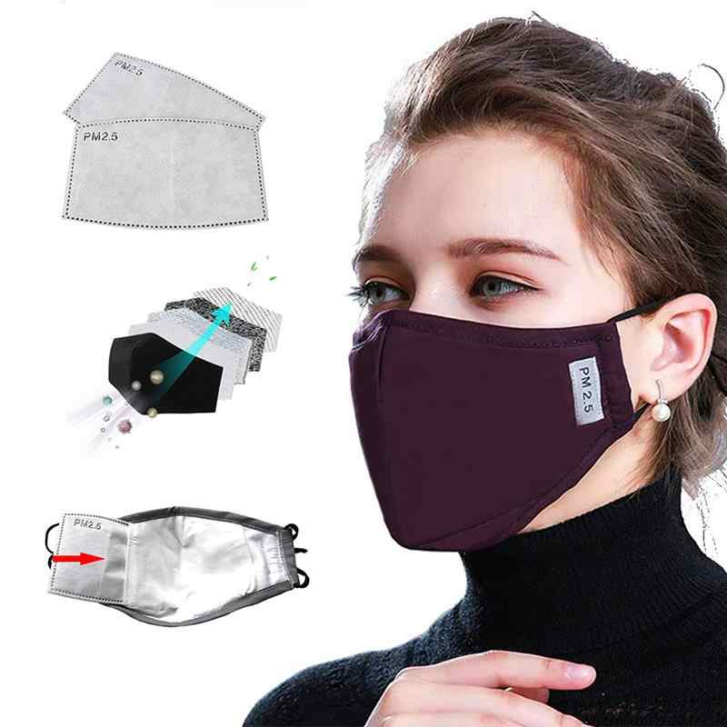 * Pamuk PM2.5 siyah ağız maskesi anti toz maskesi aktif karbon filtre rüzgar geçirmez ağız-muffle bakteri dayanıklı grip yüz maskeleri bakım