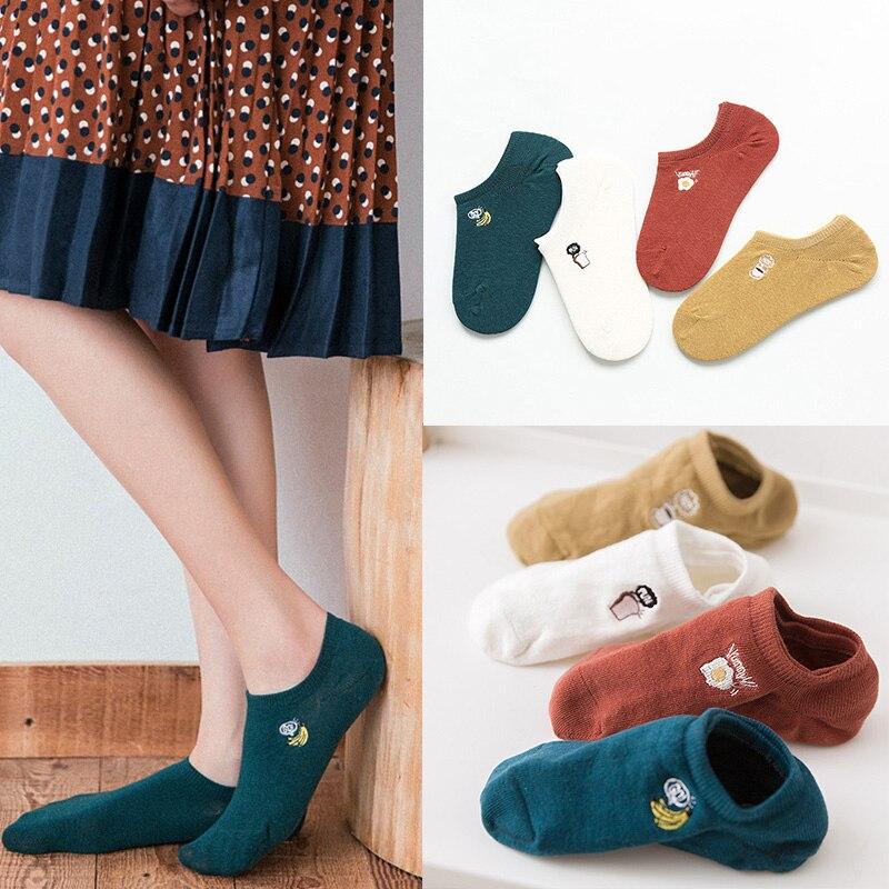 AWAYTR Women's Socks Cotton Cartoon Animal Embroidery Style Kawaii Casual Short Hosiery Hot Sale Sox For Female Girls