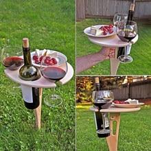 Mesa de vinho portátil ao ar livre com mesa dobrável redonda mini mesa de piquenique de madeira fácil de transportar decoração salão de beleza para casa