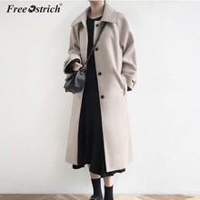 Free Ostrich 2019 Autumn Winter Woolen Coats Women Long Sleeve Long Woolen Coat Casual Loose Wool Jacket Female Outwear N30(China)