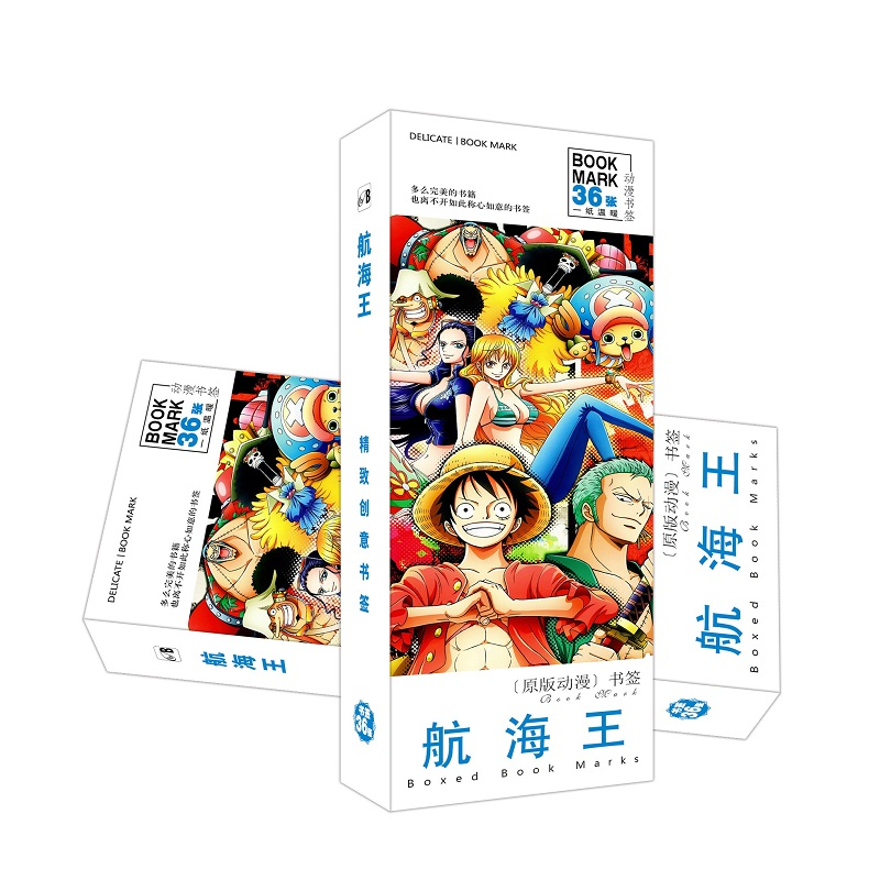 36 Pcs/Set Japanese Anime One Piece Paper Bookmark Cartoon Book Holder Message Card Gift Stationery