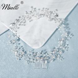 Женская повязка на голову Miallo, серебряная повязка на голову с листом и жемчугом, вечерние украшения для волос