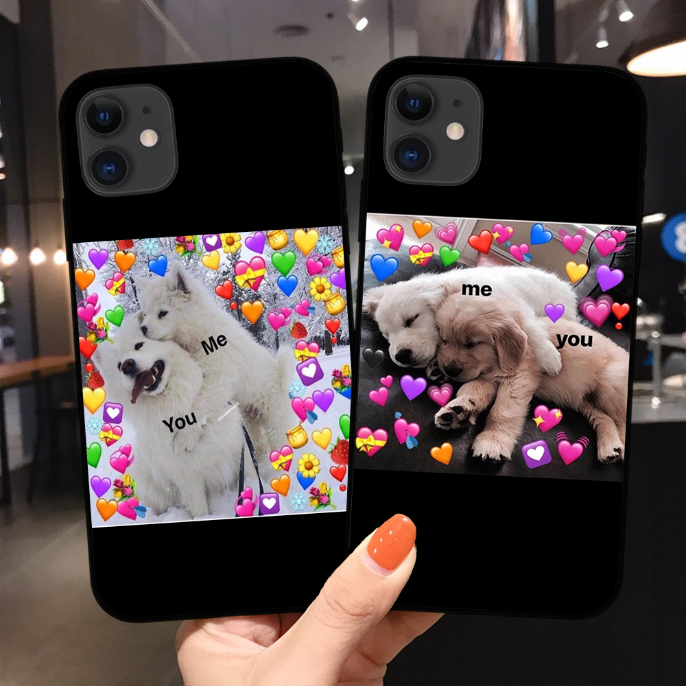 Super cute cat dog cartoon pink Heart-shaped YOU&ME series soft TPU Phone case For iphone 11 Pro XS Max X XR 8 7 6 6S Plus 5S SE image
