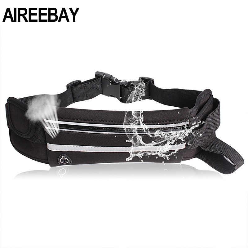 AIREEBAY ウエストパック男性女性のファッション防水ファニーパック電話ベルトカジュアル旅行ランニングスポーツため尻バッグ