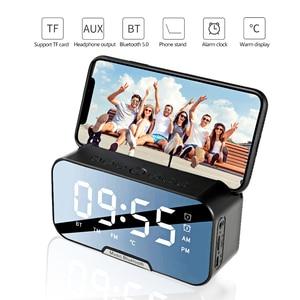 Portable Wireless Bluetooth 5.0 Speaker Column Super Bass Stereo Subwoofer Support TF AUX mirror Alarm Clock FM Receiver Radio