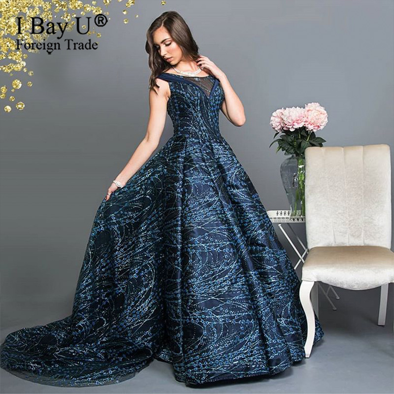 Dubai Navy Blue Long Sleeves Sexy Evening Dresses 2020 Formal Luxury Sequins Long Dresses Party