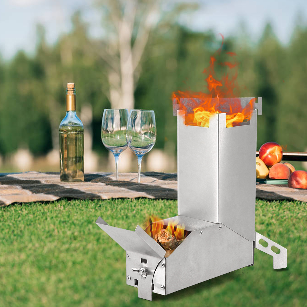 2019 Outdoor Camping Stove Foldable Wood Stove Burner Burning Stainless Steel Rocket Stove for Backpacking Tent Hiking Picnic image