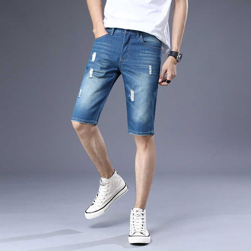 2019 Summer Fashion And Personality With Holes Denim Shorts Male Fifth Pants Youth Slim Fit Straight-Cut Shorts Korean-style Tre