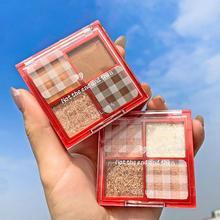 4 Colors Matte Shimmer Glitter Eye Shadow Palette Powder Waterproof Changeable Pink Violet Eyeshadow Lasting Makeup TSLM1