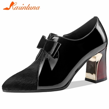 Karinluna New Arrivals 2020 High Quality Sheepskin Pointed Toe Shoes Woman Pumps Sweet Bowtie Zipper Office&Career Pumps Women