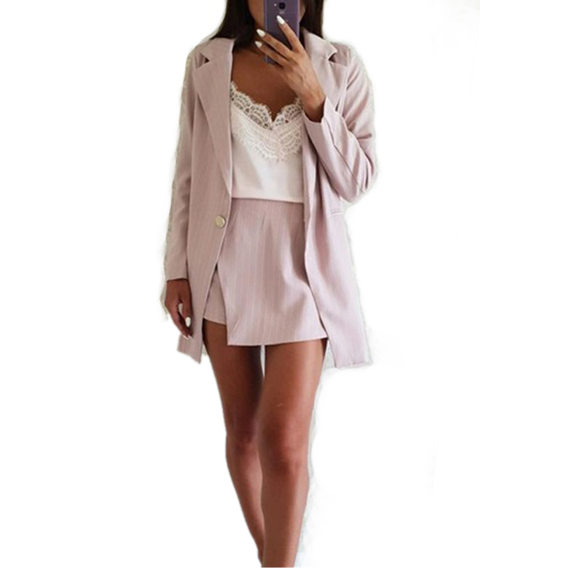 Women Striped Skirt Suits Single Button Notched Collar Blazer Jackets And Irregular Mini Skirts 2 Pieces OL Sets Female Outfits