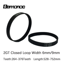 3D Printer 2GT synchronous timing belt Pitch length 528/540/550/600/606/610/616/640/670/696/752 width 6/9mm closed-loop GT2 belt
