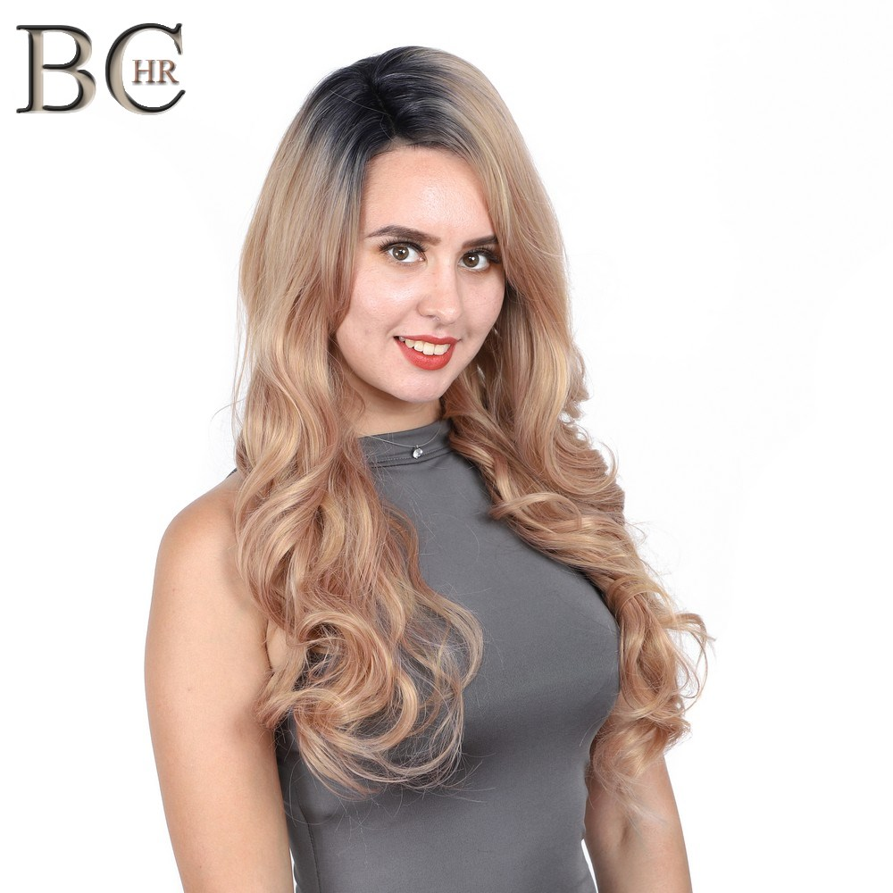 BCHR Long Natural Wave Synthetic 13*4 Lace Front Wig Rose Gold color glueless natural Hairline Wig for Women Free Shipping